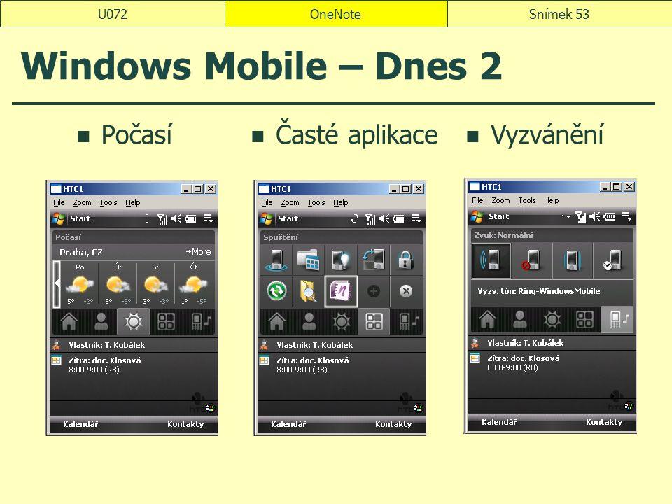 OneNoteSnímek 53U072 Windows Mobile – Dnes 2 Počasí Časté aplikace Vyzvánění