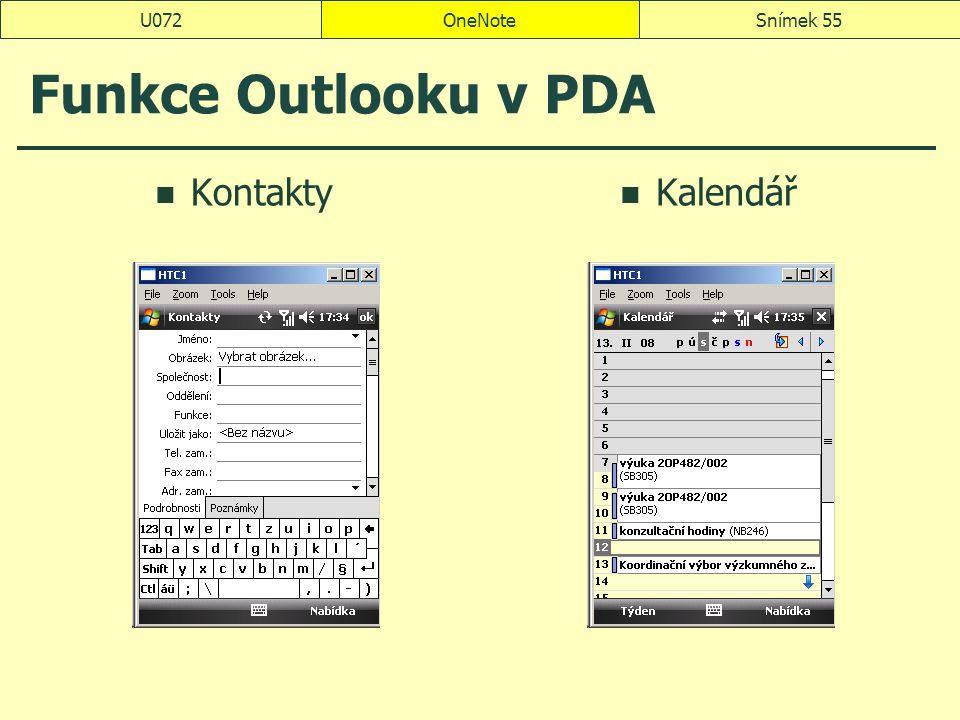 OneNoteSnímek 55U072 Funkce Outlooku v PDA Kontakty Kalendář