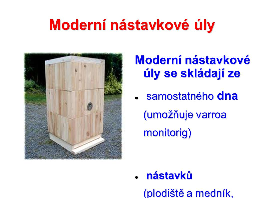 Moderní nástavkové úly Moderní nástavkové úly se skládají ze samostatného dna (umožňuje varroa monitorig) samostatného dna (umožňuje varroa monitorig)