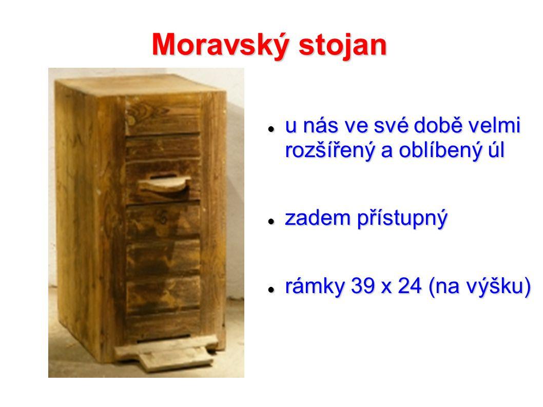 Moravský stojan u nás ve své době velmi rozšířený a oblíbený úl u nás ve své době velmi rozšířený a oblíbený úl zadem přístupný zadem přístupný rámky