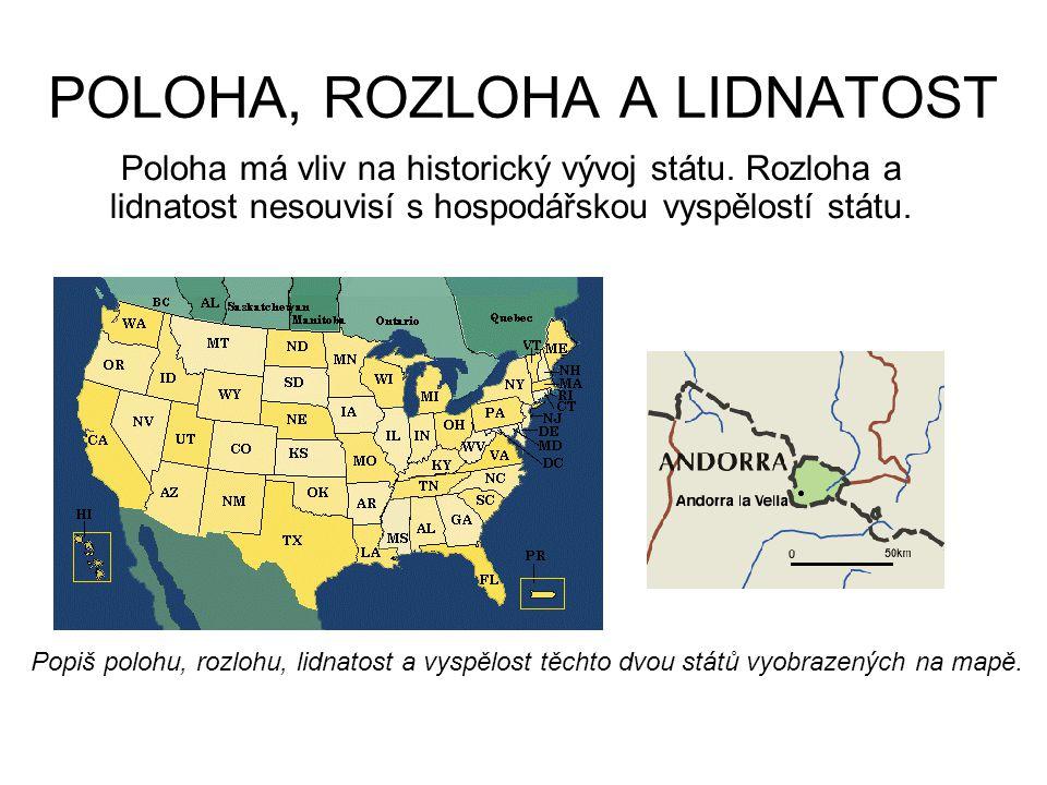 POLOHA, ROZLOHA A LIDNATOST Poloha má vliv na historický vývoj státu. Rozloha a lidnatost nesouvisí s hospodářskou vyspělostí státu. Popiš polohu, roz