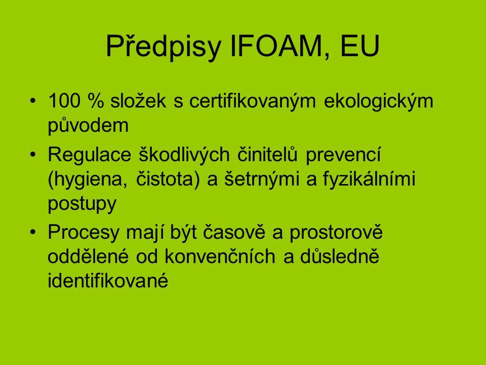Předpisy IFOAM, EU 100 % složek s certifikovaným ekologickým původem Regulace škodlivých činitelů prevencí (hygiena, čistota) a šetrnými a fyzikálními postupy Procesy mají být časově a prostorově oddělené od konvenčních a důsledně identifikované
