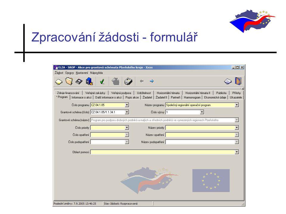 Zpracování žádosti - formulář