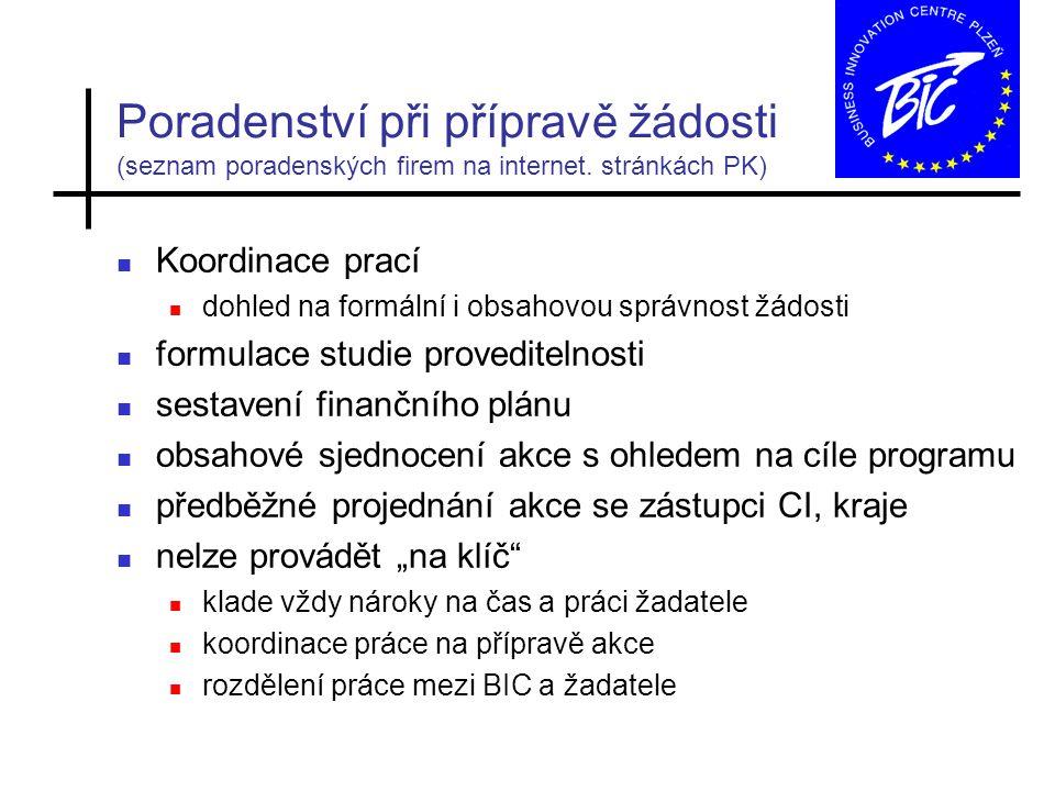 Poradenství při přípravě žádosti (seznam poradenských firem na internet.