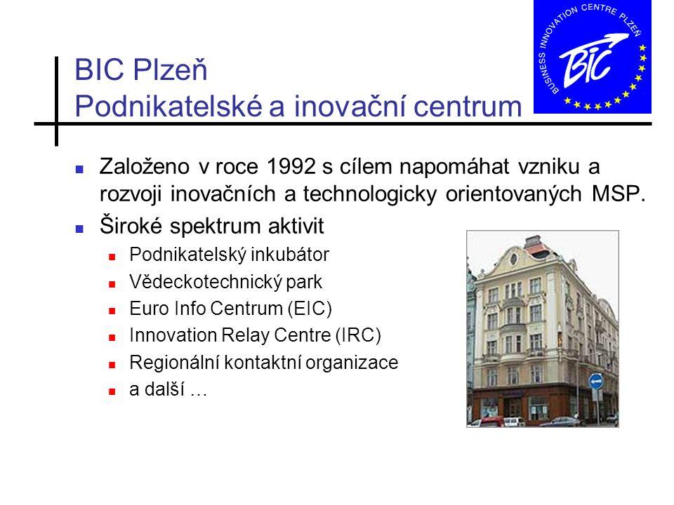 BIC Plzeň Podnikatelské a inovační centrum Založeno v roce 1992 s cílem napomáhat vzniku a rozvoji inovačních a technologicky orientovaných MSP.
