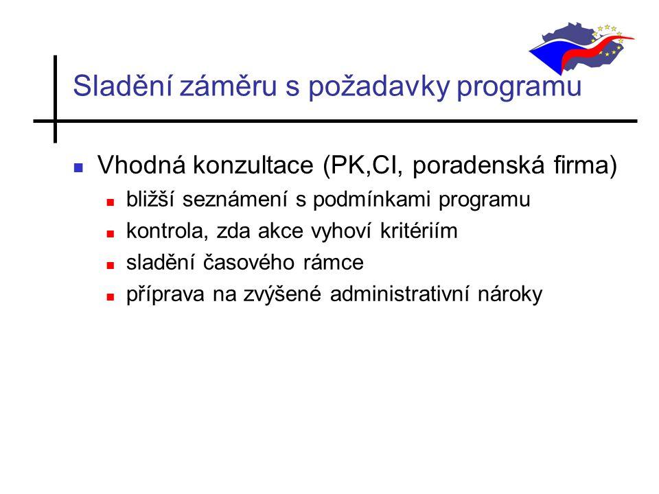 Sladění záměru s požadavky programu Vhodná konzultace (PK,CI, poradenská firma) bližší seznámení s podmínkami programu kontrola, zda akce vyhoví kritériím sladění časového rámce příprava na zvýšené administrativní nároky