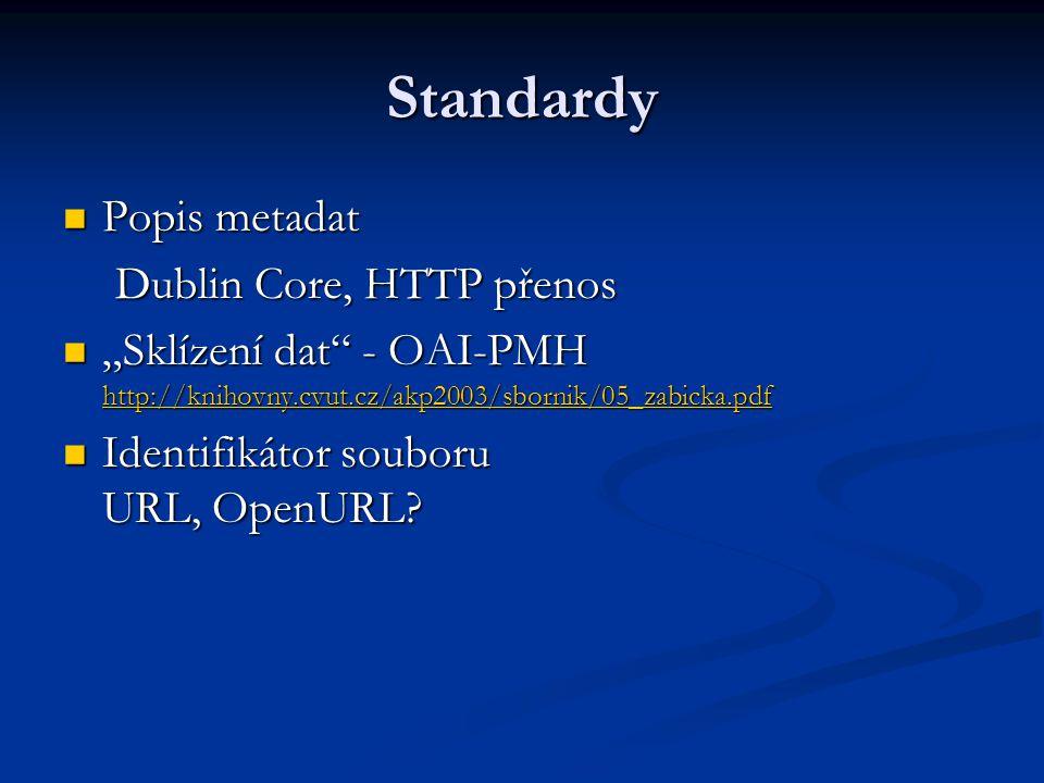 """Standardy Popis metadat Popis metadat Dublin Core, HTTP přenos """"Sklízení dat - OAI-PMH http://knihovny.cvut.cz/akp2003/sbornik/05_zabicka.pdf """"Sklízení dat - OAI-PMH http://knihovny.cvut.cz/akp2003/sbornik/05_zabicka.pdf http://knihovny.cvut.cz/akp2003/sbornik/05_zabicka.pdf Identifikátor souboru URL, OpenURL."""