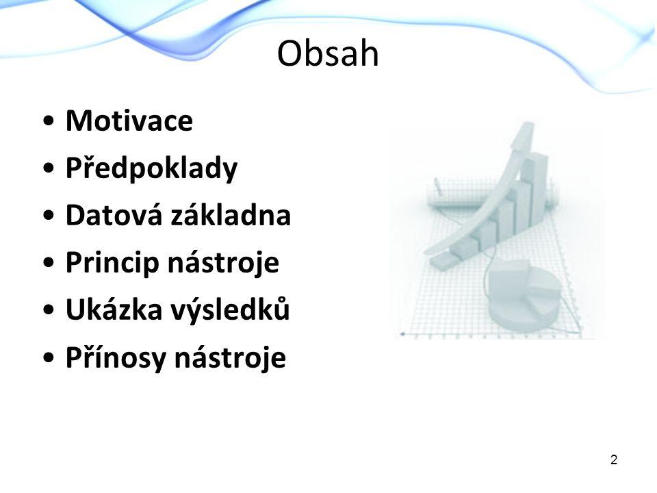 Obsah Motivace Předpoklady Datová základna Princip nástroje Ukázka výsledků Přínosy nástroje 2