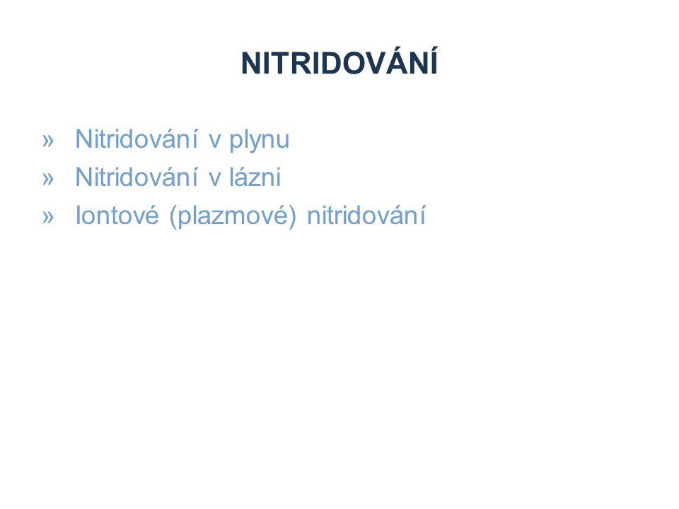 NITRIDOVÁNÍ »Nitridování v plynu »Nitridování v lázni »Iontové (plazmové) nitridování