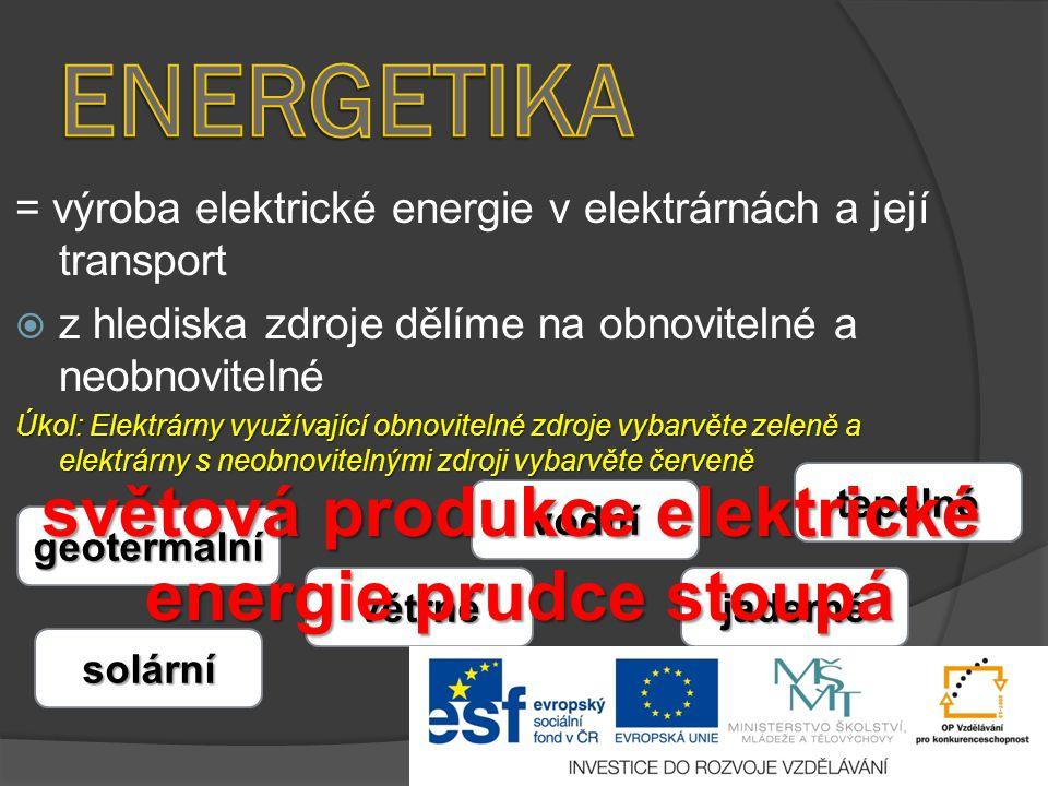 = výroba elektrické energie v elektrárnách a její transport  z hlediska zdroje dělíme na obnovitelné a neobnovitelné Úkol: Elektrárny využívající obn