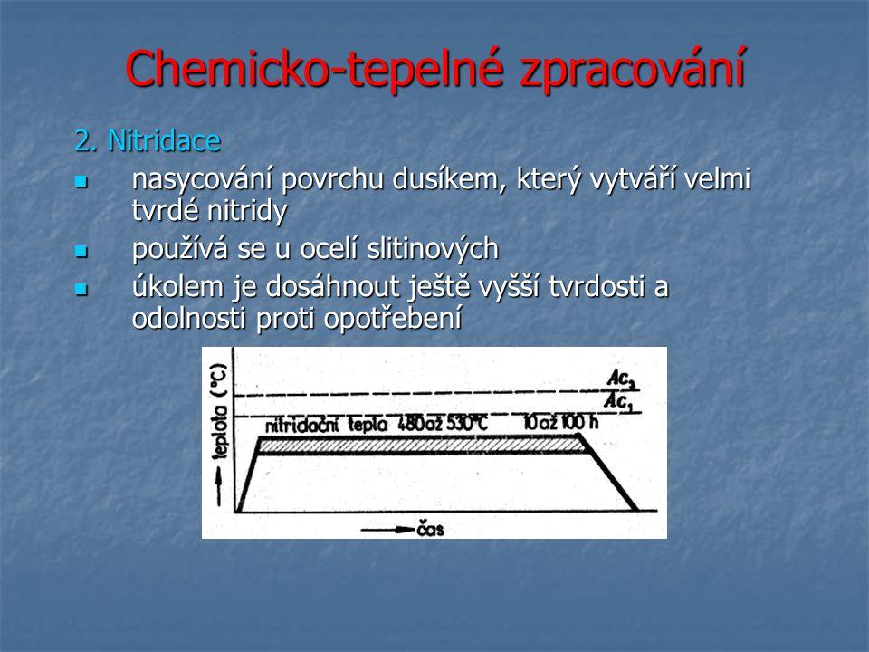 Chemicko-tepelné zpracování 2. Nitridace nasycování povrchu dusíkem, který vytváří velmi tvrdé nitridy nasycování povrchu dusíkem, který vytváří velmi