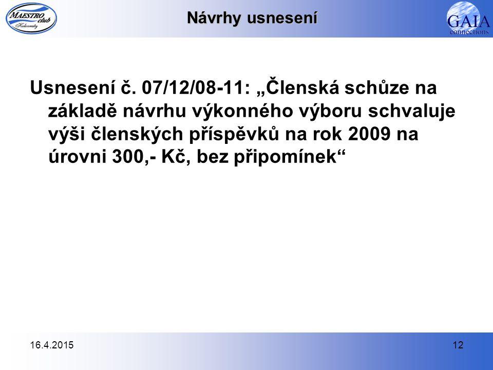 16.4.201512 Návrhy usnesení Usnesení č.