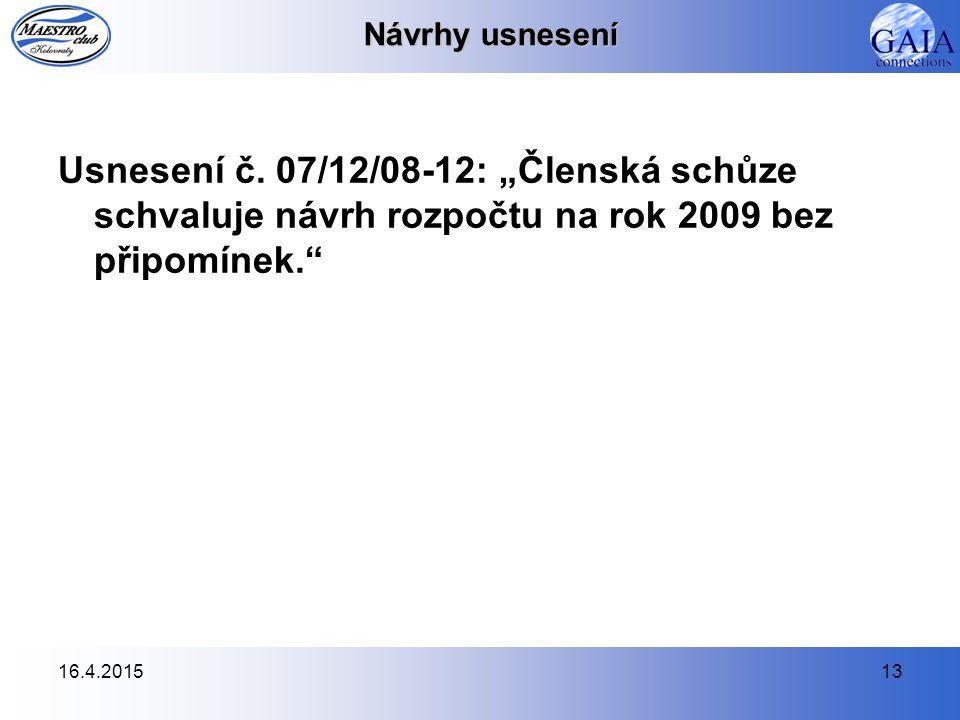 16.4.201513 Návrhy usnesení Usnesení č.