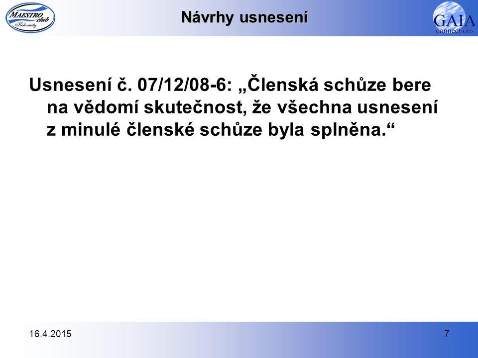 16.4.20157 Návrhy usnesení Usnesení č.