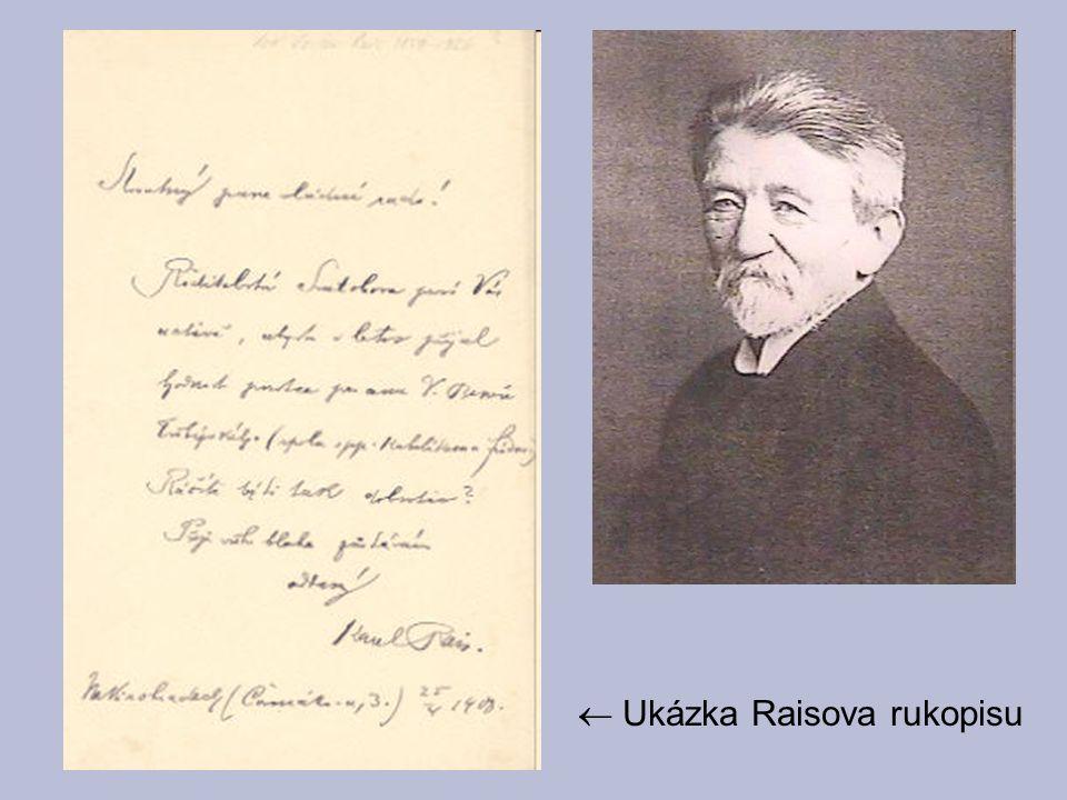  Ukázka Raisova rukopisu