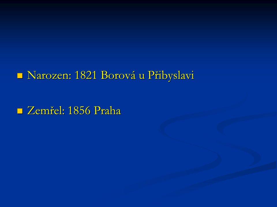 Narozen: 1821 Borová u Přibyslavi Narozen: 1821 Borová u Přibyslavi Zemřel: 1856 Praha Zemřel: 1856 Praha