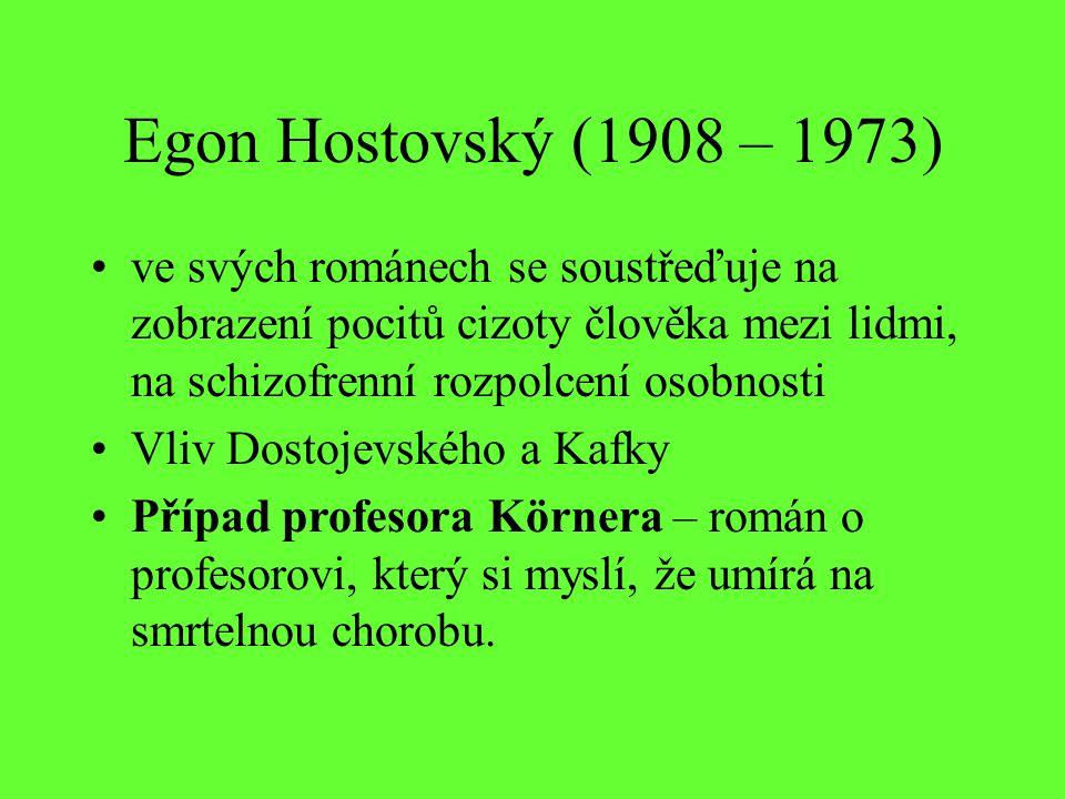 Egon Hostovský (1908 – 1973) ve svých románech se soustřeďuje na zobrazení pocitů cizoty člověka mezi lidmi, na schizofrenní rozpolcení osobnosti Vliv