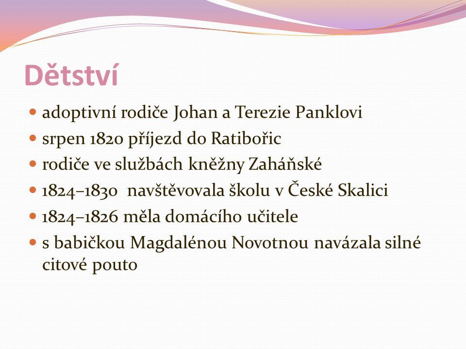 Dětství adoptivní rodiče Johan a Terezie Panklovi srpen 1820 příjezd do Ratibořic rodiče ve službách kněžny Zaháňské 1824–1830 navštěvovala školu v České Skalici 1824–1826 měla domácího učitele s babičkou Magdalénou Novotnou navázala silné citové pouto