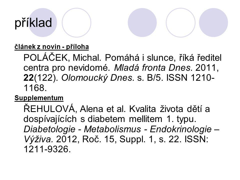 příklad článek z novin - příloha POLÁČEK, Michal.