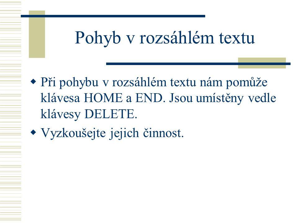 Pohyb v rozsáhlém textu  Při pohybu v rozsáhlém textu nám pomůže klávesa HOME a END.