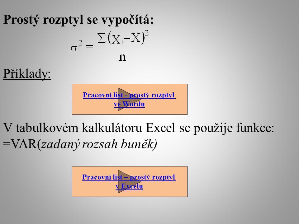 Prostý rozptyl se vypočítá: Příklady: V tabulkovém kalkulátoru Excel se použije funkce: =VAR(zadaný rozsah buněk) Pracovní list - prostý rozptyl ve Wordu Pracovní list – prostý rozptyl v Excelu