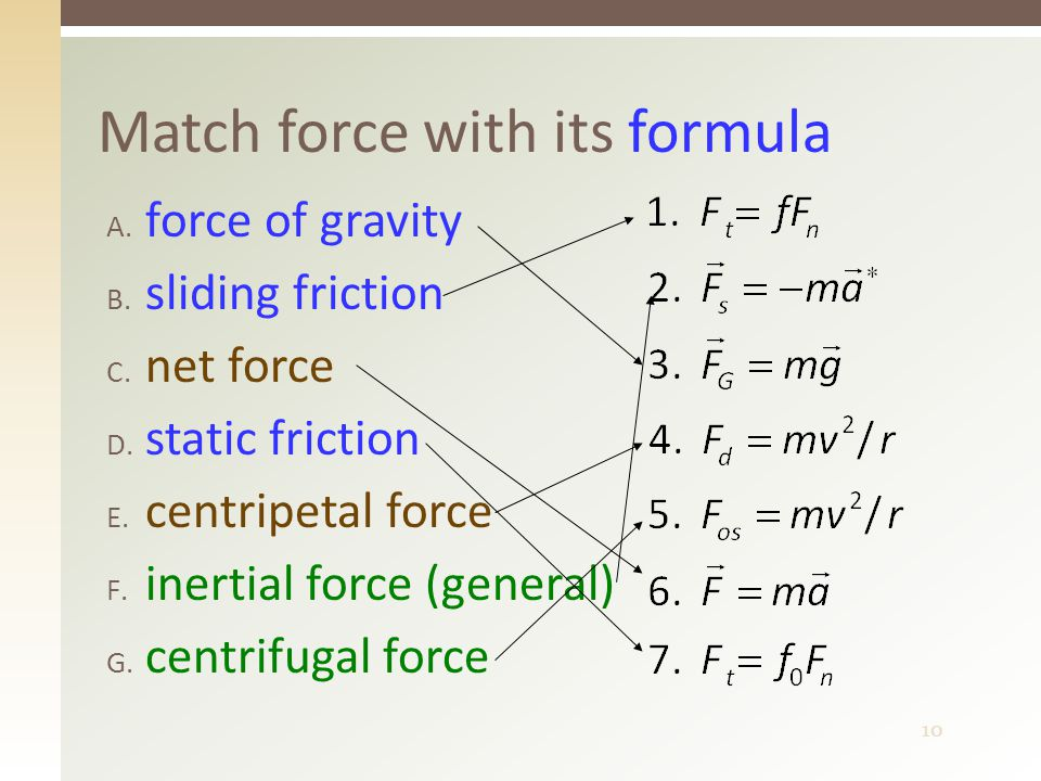 10 Match force with its formula A. force of gravity B.