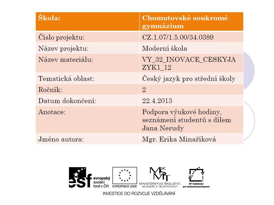 Škola:Chomutovské soukromé gymnázium Číslo projektu:CZ.1.07/1.5.00/34.0389 Název projektu:Moderní škola Název materiálu:VY_32_INOVACE_CESKYJA ZYK1_12