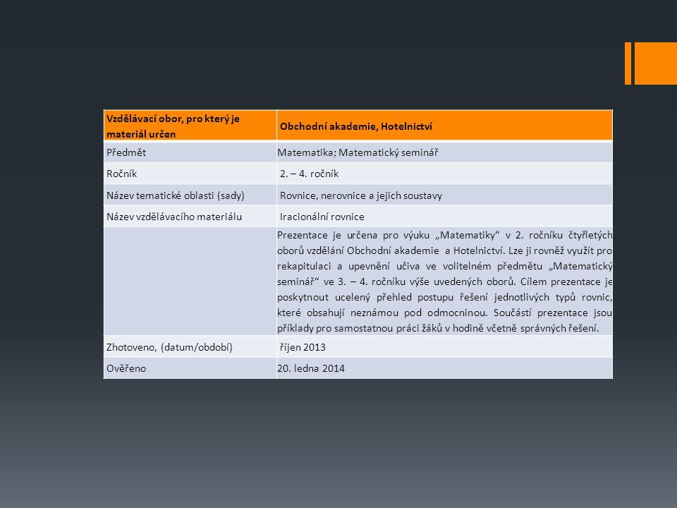 Vzdělávací obor, pro který je materiál určen Obchodní akademie, Hotelnictví PředmětMatematika; Matematický seminář Ročník 2.