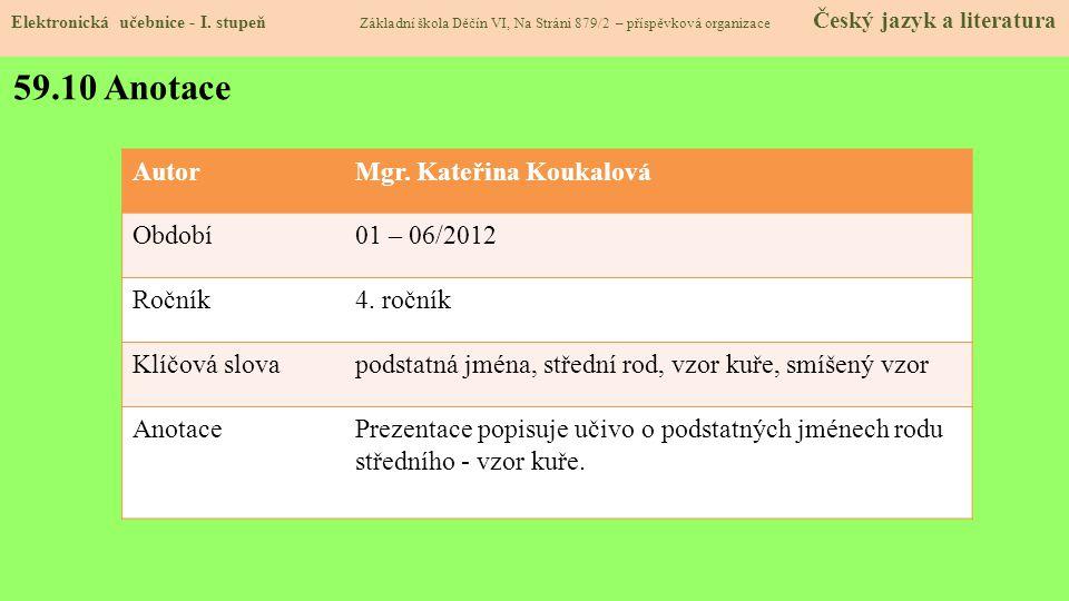 59.10 Anotace AutorMgr.Kateřina Koukalová Období01 – 06/2012 Ročník4.