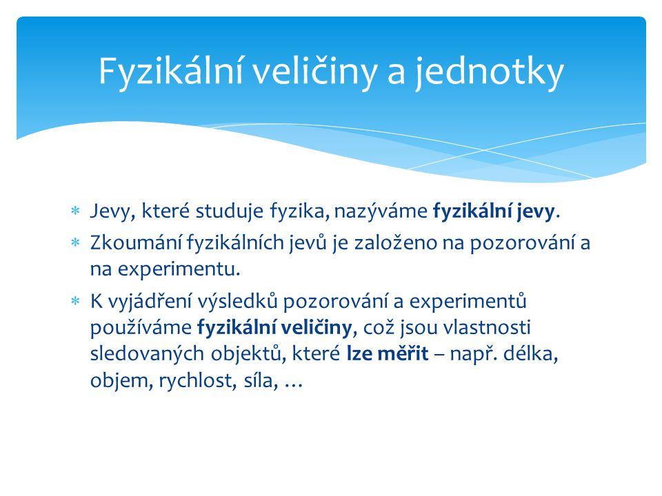  Jevy, které studuje fyzika, nazýváme fyzikální jevy.