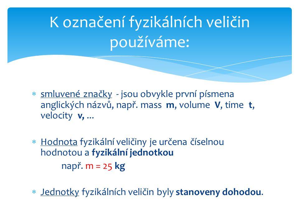 Mezinárodní soustava jednotek - SI Systéme International d´Unités - u nás od roku 1962 Základní jednotky Základní veličinaZnačkaFyzikální jednotkaZnačka délkalmetrm hmotnostmkilogramkg častsekundas elektrický proudIampérA termodynamická teplota TkelvinK látkové množstvínmol svítivostIkandelacd