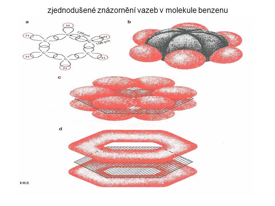 zjednodušené znázornění vazeb v molekule benzenu