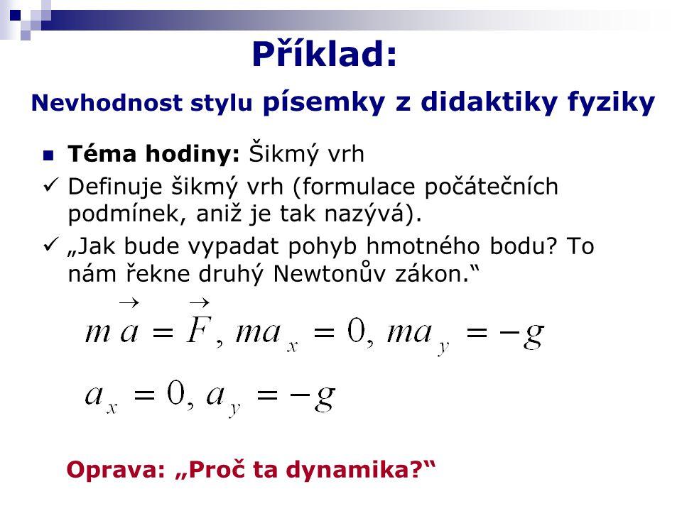 Příklad: Nevhodnost stylu písemky z didaktiky fyziky Téma hodiny: Šikmý vrh Definuje šikmý vrh (formulace počátečních podmínek, aniž je tak nazývá).