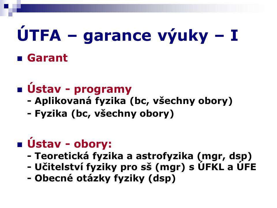 ÚTFA – garance výuky – I Garant Ústav - programy - Aplikovaná fyzika (bc, všechny obory) - Fyzika (bc, všechny obory) Ústav - obory: - Teoretická fyzika a astrofyzika (mgr, dsp) - Učitelství fyziky pro sš (mgr) s ÚFKL a ÚFE - Obecné otázky fyziky (dsp)