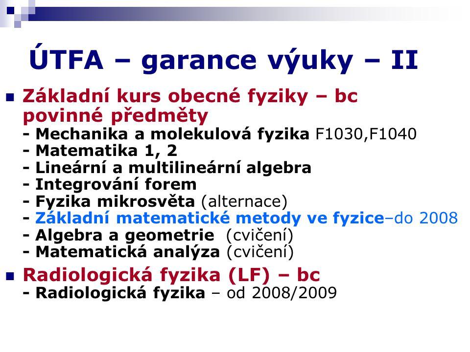 ÚTFA – garance výuky – II Základní kurs obecné fyziky – bc povinné předměty - Mechanika a molekulová fyzika F1030,F1040 - Matematika 1, 2 - Lineární a multilineární algebra - Integrování forem - Fyzika mikrosvěta (alternace) - Základní matematické metody ve fyzice–do 2008 - Algebra a geometrie (cvičení) - Matematická analýza (cvičení) Radiologická fyzika (LF) – bc - Radiologická fyzika – od 2008/2009