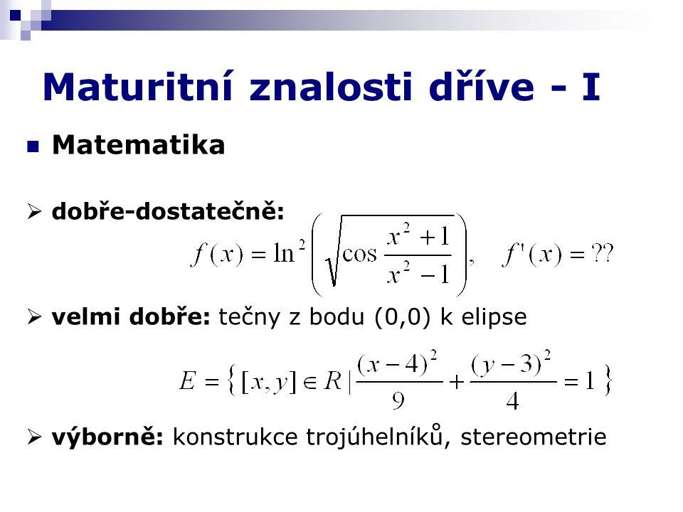 Maturitní znalosti dříve - I Matematika  dobře-dostatečně:  velmi dobře: tečny z bodu (0,0) k elipse  výborně: konstrukce trojúhelníků, stereometrie