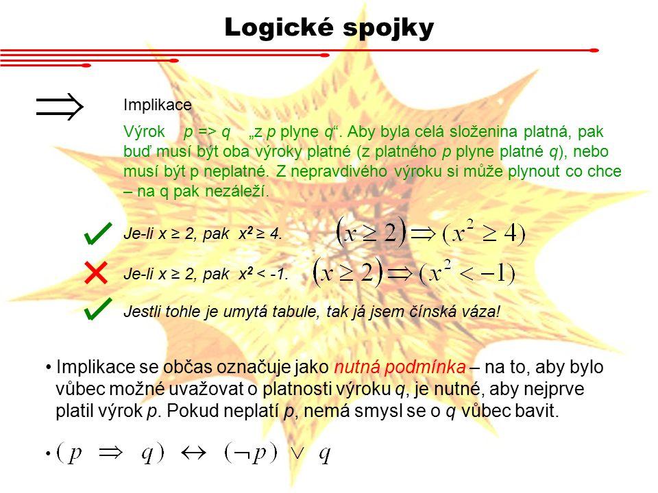 """Logické spojky Implikace Výrok p => q """"z p plyne q"""". Aby byla celá složenina platná, pak buď musí být oba výroky platné (z platného p plyne platné q),"""