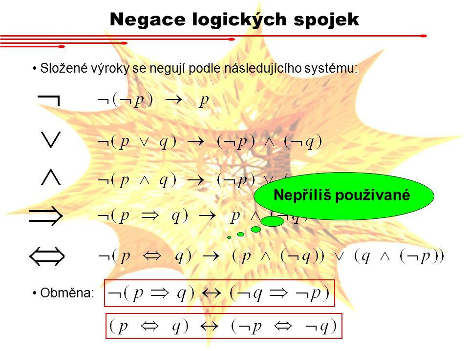 Negace logických spojek Složené výroky se negují podle následujícího systému: Obměna: Nepříliš používané
