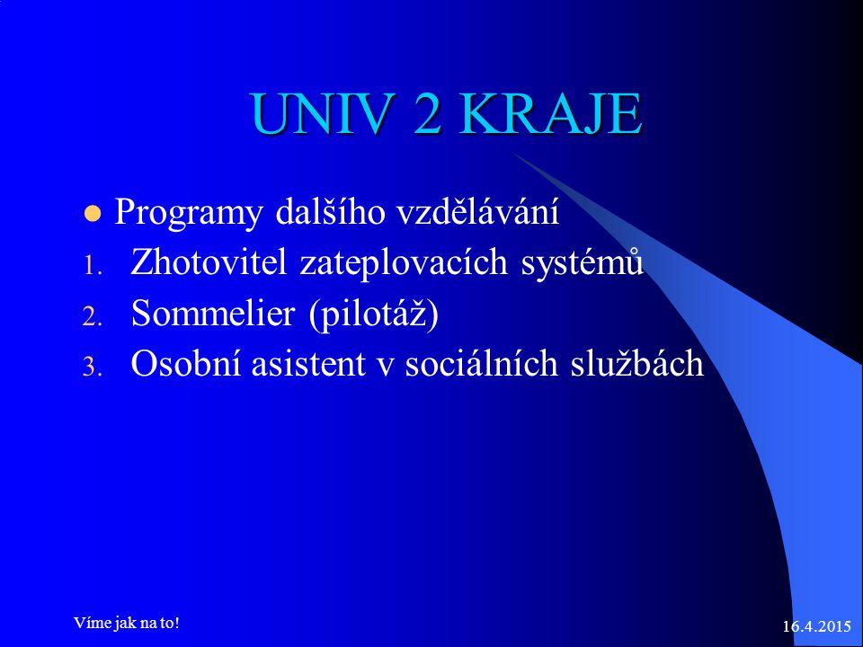 UNIV 2 KRAJE Programy dalšího vzdělávání 1. Zhotovitel zateplovacích systémů 2.