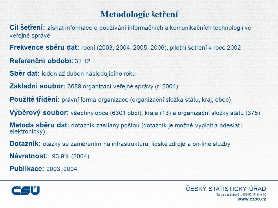 ČESKÝ STATISTICKÝ ÚŘAD Na padesátém 81, 100 82 Praha 10 www.czso.cz Metodologie šetření Cíl šetření: získat informace o používání informačních a komunikačních technologií ve veřejné správě Frekvence sběru dat: roční (2003, 2004, 2005, 2006), pilotní šetření v roce 2002 Referenční období: 31.12.