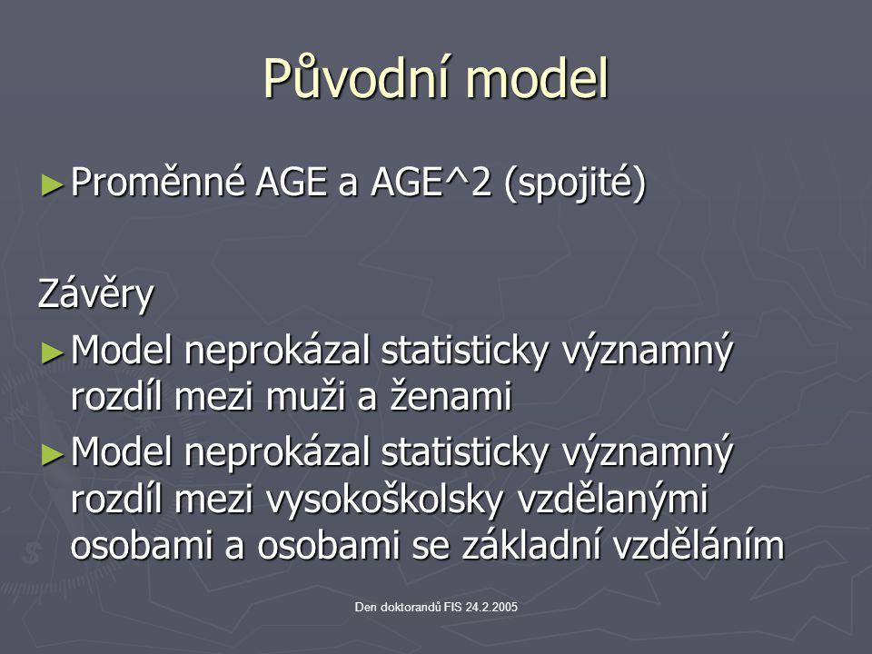 Den doktorandů FIS 24.2.2005 Původní model ► Proměnné AGE a AGE^2 (spojité) Závěry ► Model neprokázal statisticky významný rozdíl mezi muži a ženami ►