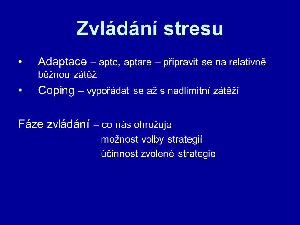 Zvládání stresu Adaptace – apto, aptare – připravit se na relativně běžnou zátěž Coping – vypořádat se až s nadlimitní zátěží Fáze zvládání – co nás ohrožuje možnost volby strategií účinnost zvolené strategie