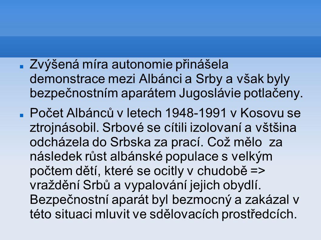 Zvýšená míra autonomie přinášela demonstrace mezi Albánci a Srby a však byly bezpečnostním aparátem Jugoslávie potlačeny. Počet Albánců v letech 1948-