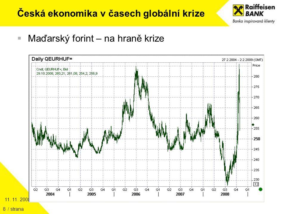11. 11. 2008 / strana8 Česká ekonomika v časech globální krize  Maďarský forint – na hraně krize