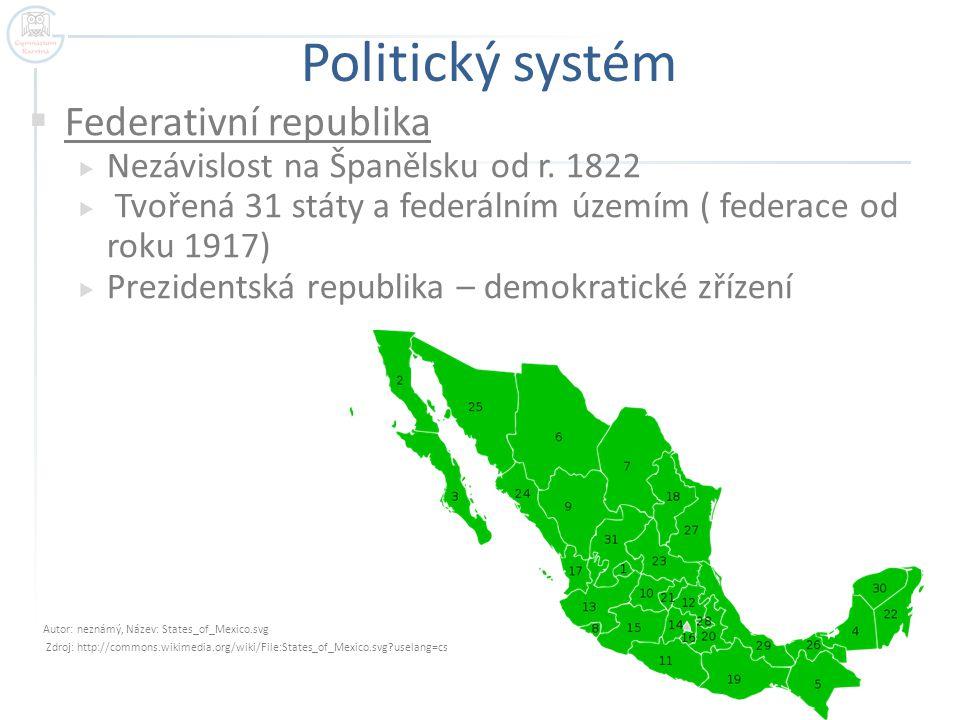 Politický systém  Federativní republika  Nezávislost na Španělsku od r. 1822  Tvořená 31 státy a federálním územím ( federace od roku 1917)  Prezi