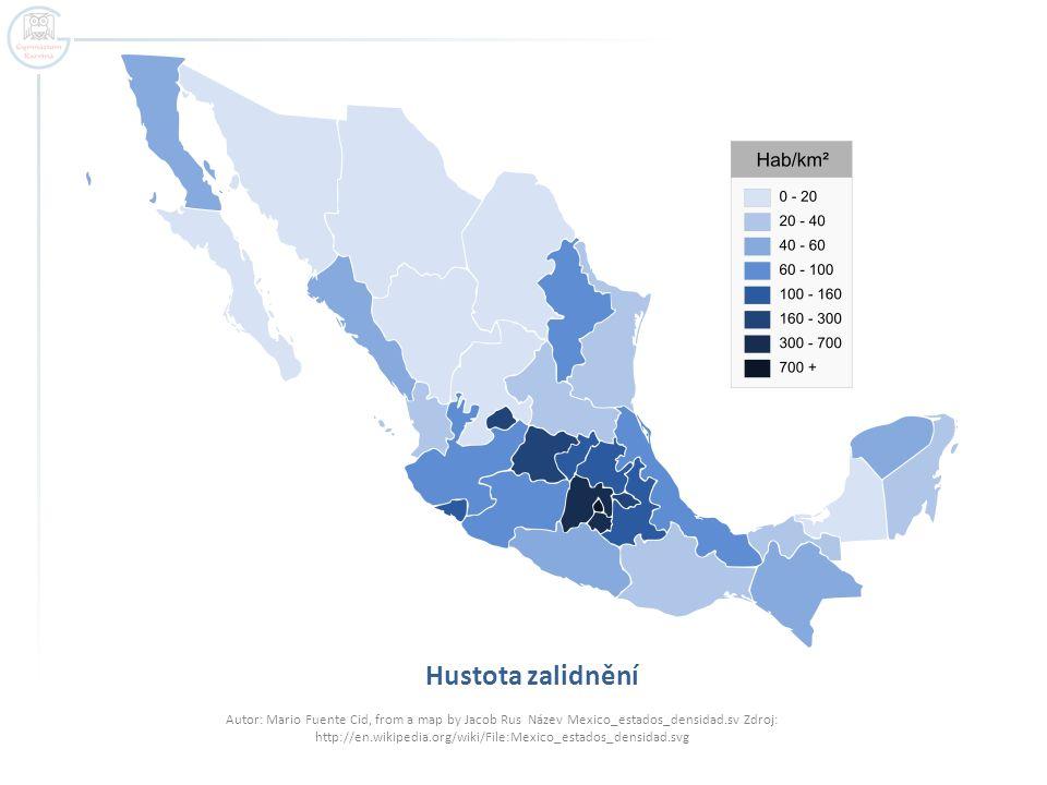 Hustota zalidnění Autor: Mario Fuente Cid, from a map by Jacob Rus Název Mexico_estados_densidad.sv Zdroj: http://en.wikipedia.org/wiki/File:Mexico_es