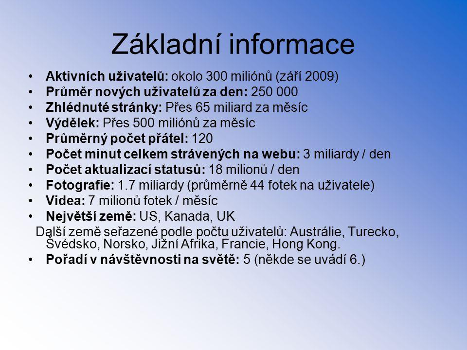 Aktivních uživatelů: okolo 300 miliónů (září 2009) Průměr nových uživatelů za den: 250 000 Zhlédnuté stránky: Přes 65 miliard za měsíc Výdělek: Přes 5