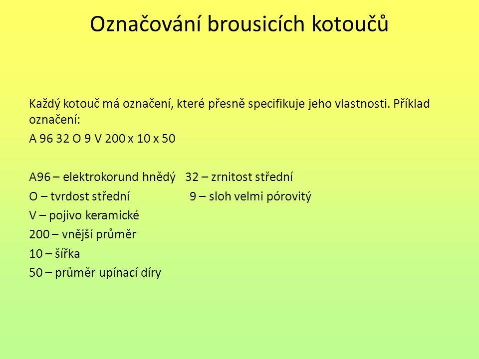 Označování brousicích kotoučů Každý kotouč má označení, které přesně specifikuje jeho vlastnosti.
