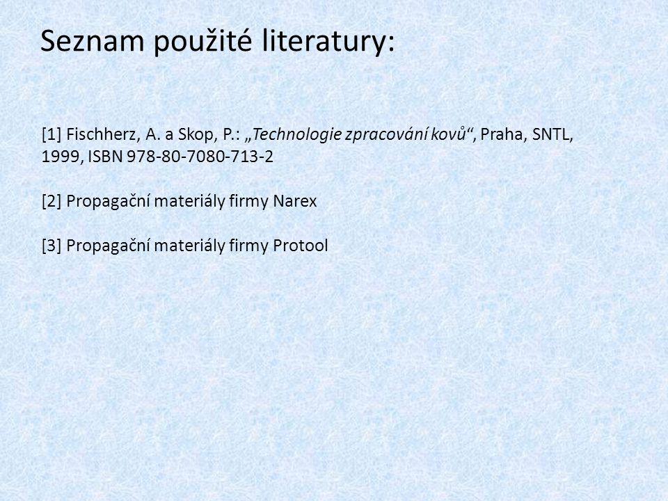Seznam použité literatury: [1] Fischherz, A.