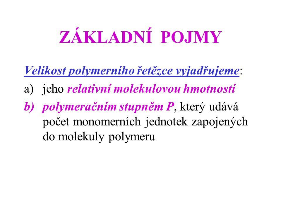 ZÁKLADNÍ POJMY Velikost polymerního řetězce vyjadřujeme: a)jeho relativní molekulovou hmotností b)polymeračním stupněm P, který udává počet monomerních jednotek zapojených do molekuly polymeru